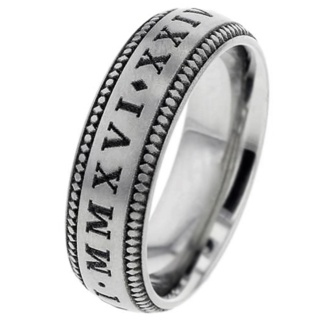Customisable Roman Numeral Titanium Ring