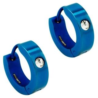 Neon Blue Steel Crystal Huggie Earrings