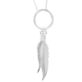 Silver Circle Feather Necklace