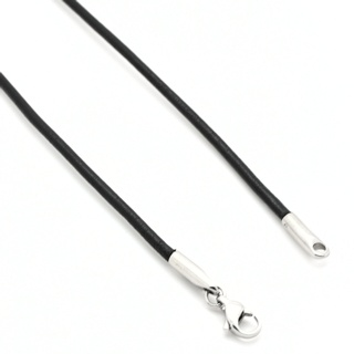 Soft Round Black Leather 2mm Necklace Steel Clasp