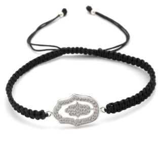 Crystal Hamsa Black Friendship Bracelet
