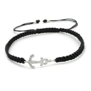 Crystal Anchor Black Friendship Bracelet