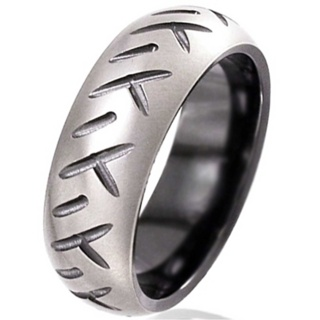 Dome Profile Zirconium Wedding Ring with Motorbike Tread Detail