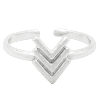 Adjustable Silver Triple V Midi Ring