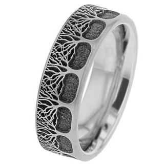 Titanium Tree Of Life Ring