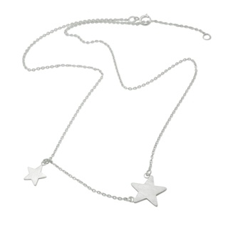Silver Stars Satin Necklace