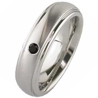 Two Tone Dome Profile Diamond Titanium Wedding Ring