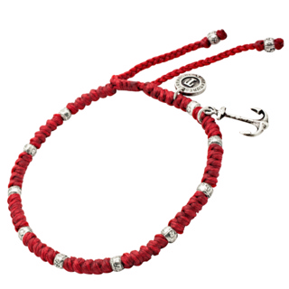 Adjustable Red Woven Anchor Ankle Bracelet