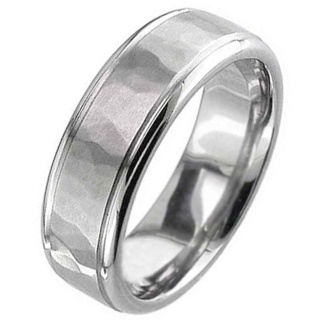 Flat Profile Titanium Ring with a Hammered Centre