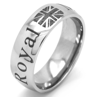 Polished Titanium Royal Marines Ring