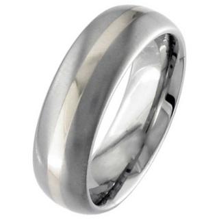 Dome Profile Titanium & Platinum Wedding Ring