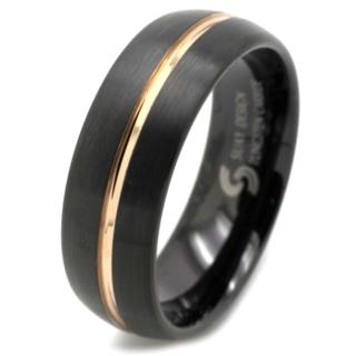 Black & Rose Gold Tungsten Carbide Ring