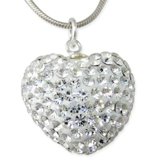Crystal Silver Heart Necklace
