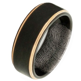 Black And Rose Gold Tungsten Ring With Fingerprint