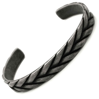 Woven Oxidised Stainless Steel Cuff Bracelet