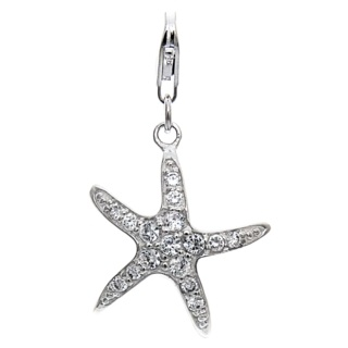 Silver Starfish Clip Charm with Cubic Zirconia Crystals