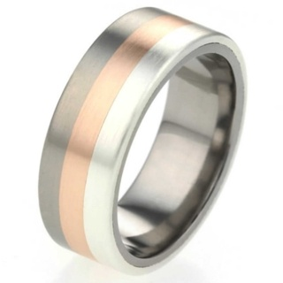 Tri Coloured Titanium Ring with Silver and Rose Gold Inlay