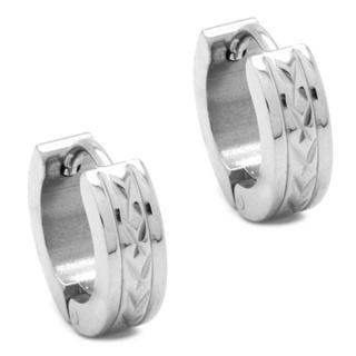 Stainless Steel Indented Huggie Earrings