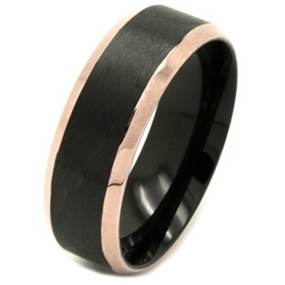 Black & Rose Gold Stainless Steel Ring