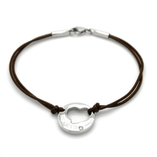 Brown Leather Crystal Heart Charm Bracelet