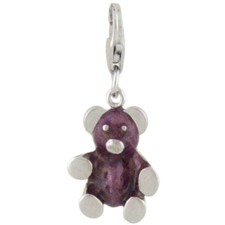 Teddy Bear Silver Charm Sparkling