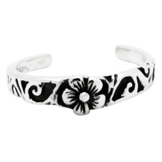 Ornate Flower Design Silver Toe Ring