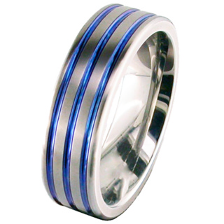 Flat Profile Zirconium Wedding Ring with Anodised Grooves