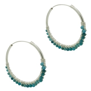 925 Silver Hoop Earrings with Blue Apatite Crystals