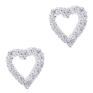 925 Silver Cubic Zirconia Crystal Heart Earrings