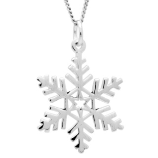 Polished Silver Snowflake Necklace