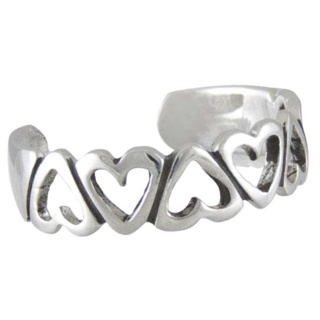 Five Of Hearts Silver Toe Ring