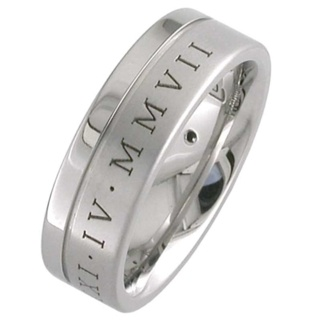 Roman Numeral Titanium Wedding Ring