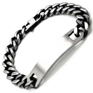 Oxidised Stainless Steel Identity Bracelet