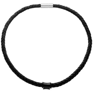 Woven Black Leather Necklace with a Polished Black Titanium Bead