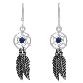 925 Silver & Blue Agate Dreamcatcher Earrings