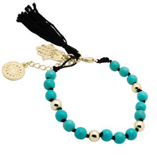 Turquoise Hamsa Charm Bracelet