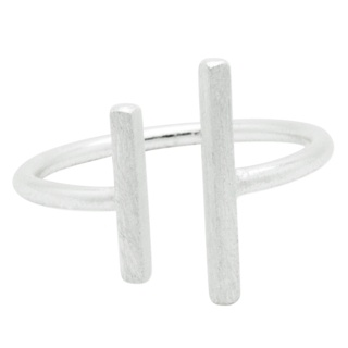 Adjustable Silver Bar Midi Ring