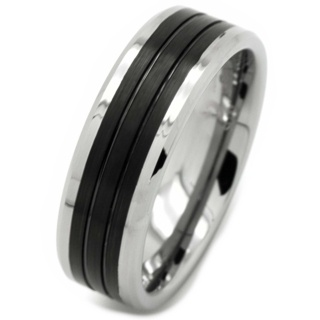 Tungsten Carbide Ring with Black Centre