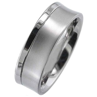 Concave Profile Two Tone Grooved Titanium Ring