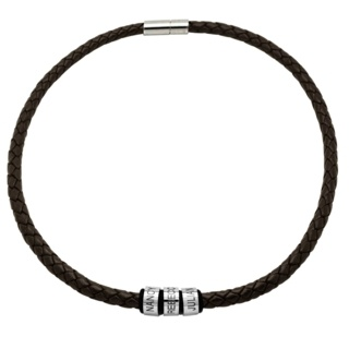 Personalised Brown Woven Leather Family Necklace with Titanium Beads