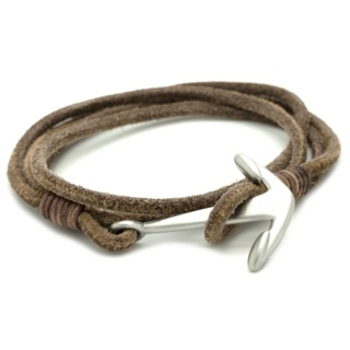Soft Light Brown Double Wrap leather Anchor Bracelet