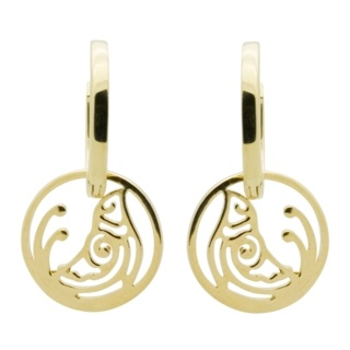 Gold Hoop with Bird Drop Earrings