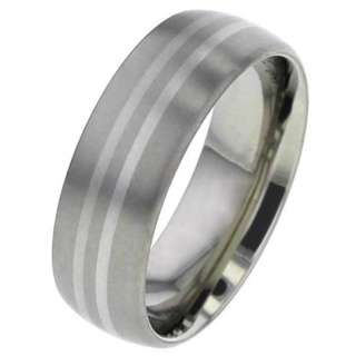 Domed Titanium Ring with Double Palladium Inlays