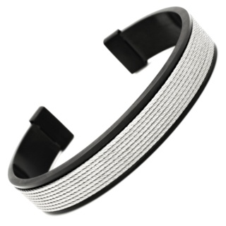 Black Steel Bracelet with Central Wire Feature