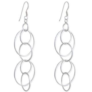 Circus Silver Hoop Earrings