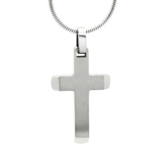 Titanium Satin Cross Necklace