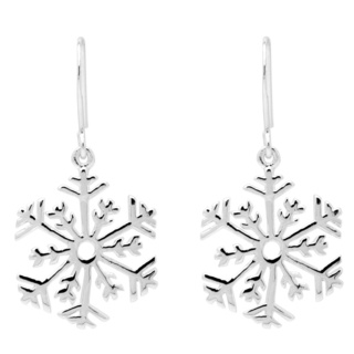 Silver Drop Snowflake Earrings