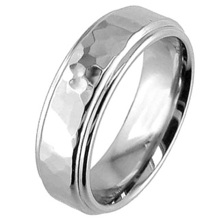 Polished Titanium Ring with a Hammered Central Feature