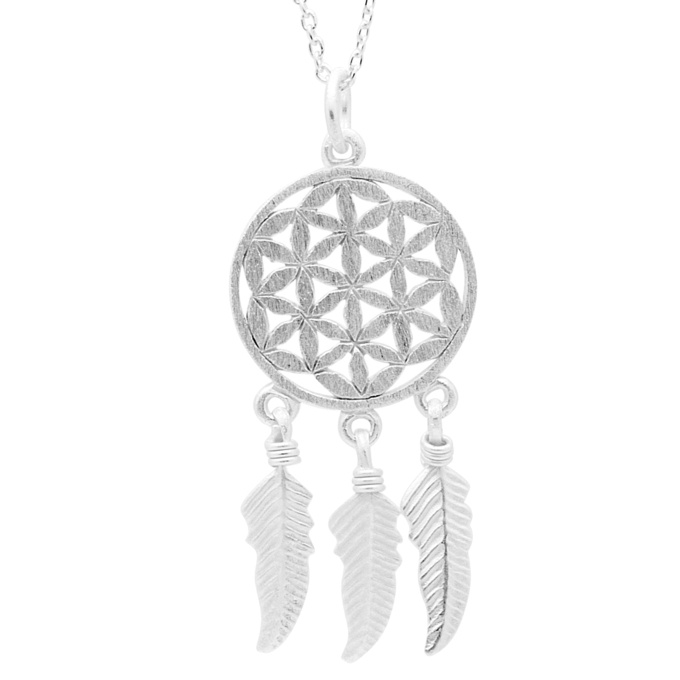 Silver Flower Of Life with Feathers Necklace
