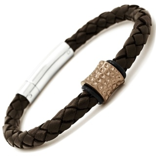 Rose Gold Coloured Titanium Bead with Brown Leather Bracelet